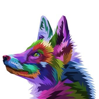 Красочная лиса на поп-арт стиле. векторная иллюстрация