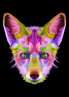 Красочная лиса в стиле поп-арт