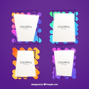 Colorful frame collection with flat design