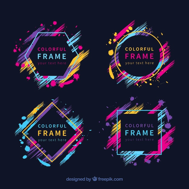 Free Colorful frame collection with geometric shapes SVG DXF EPS PNG