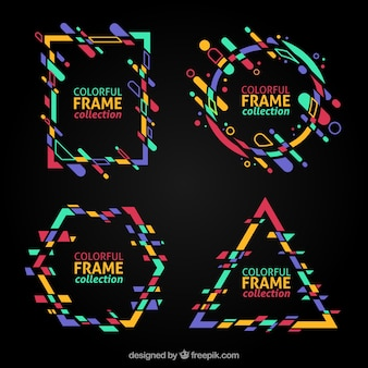 Colorful frame collection with geometric shapes