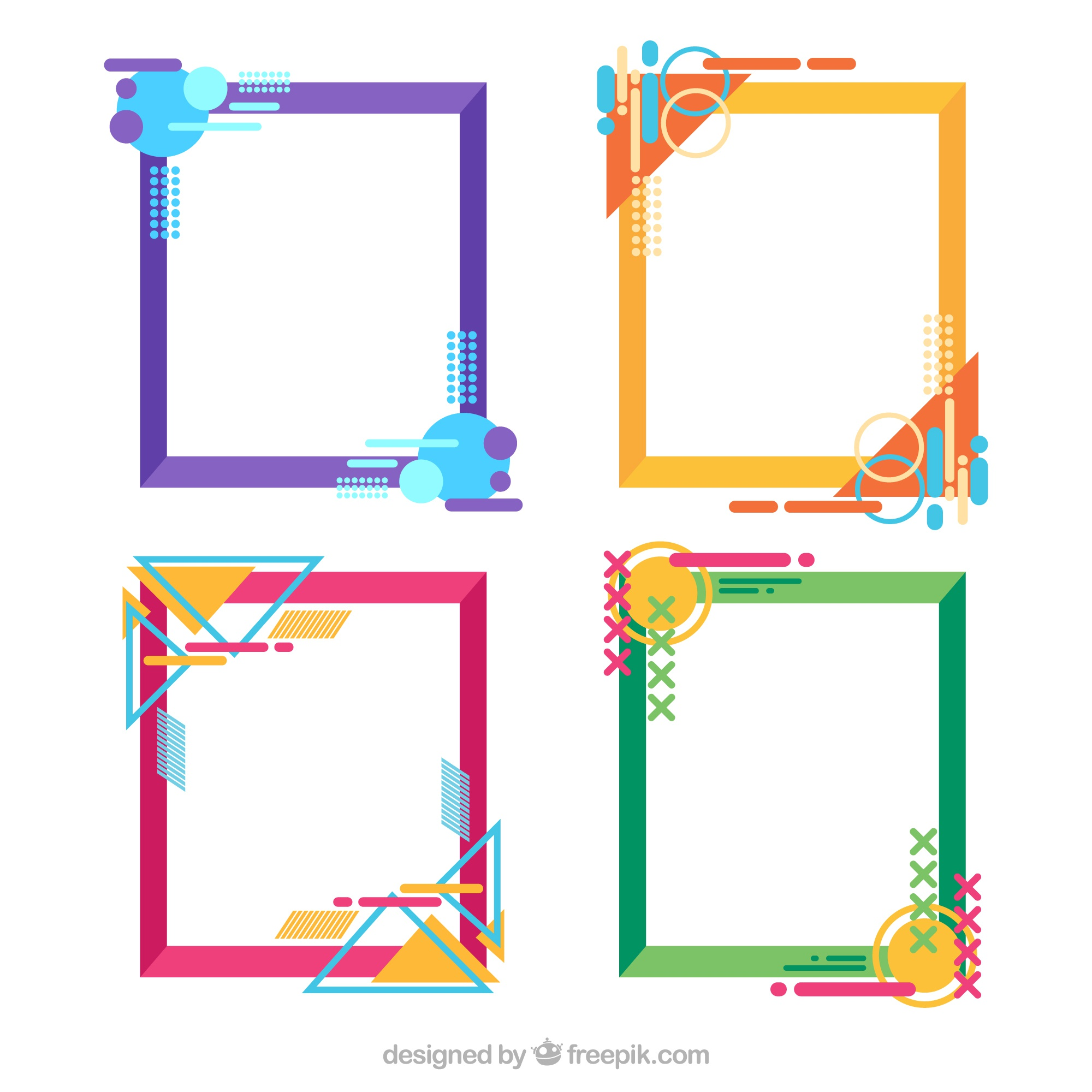 Colorful frame collection with geometric style