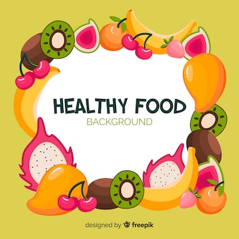 Colorful frame healthy food background