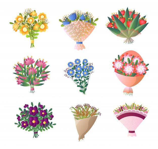 Красочный букет из свежих цветов на белом