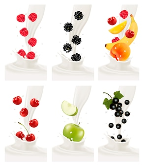 Colorful fresh fruits falling into the milky splash.