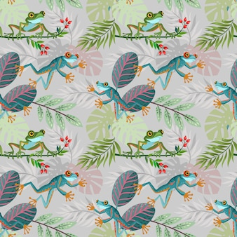 Colorful frog and leaf seamless pattern