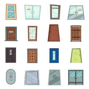 フラットなデザインスタイルで設定された家や建物へのカラフルな正面玄関。白い背景の上のさまざまなドアのセット、イラスト。