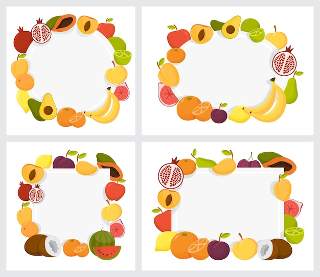 カラフルなフルーツフレームセット。熱帯背景のコレクション