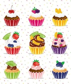 Красочные фрукты сладкие вкусные десертные кексы набор