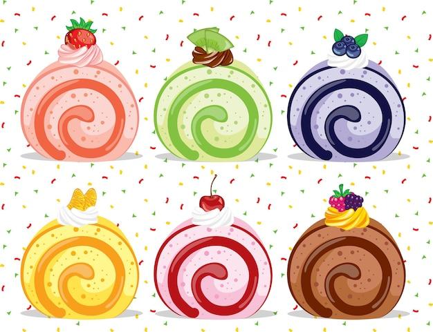 Набор красочных фруктовых сладких вкусных рулетов