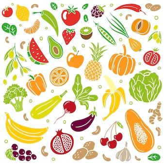 손으로 그린 스타일의 다채로운 과일과 야채