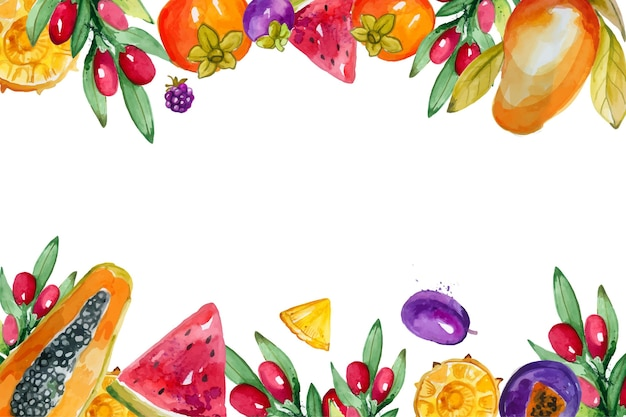 Colorful fruits illustration watercolor