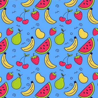 Colorful fruits pattern concept