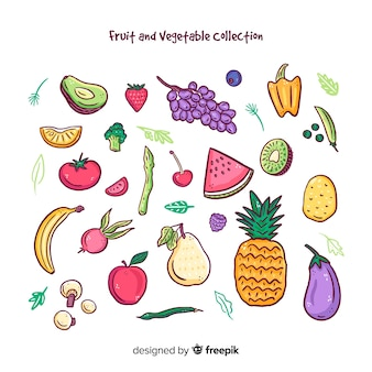 Colorful fruits and vegetables collection