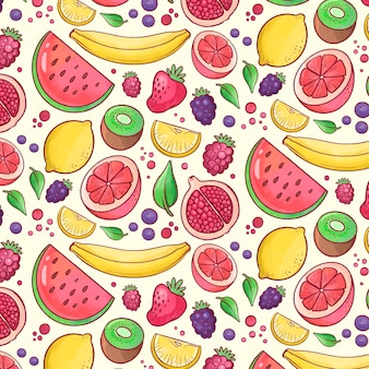 Colorful fruity pattern background