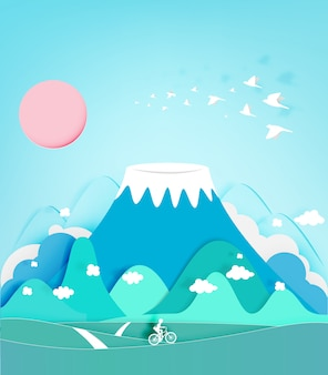 Colorful fuji mountain paper cut style background vector illustration