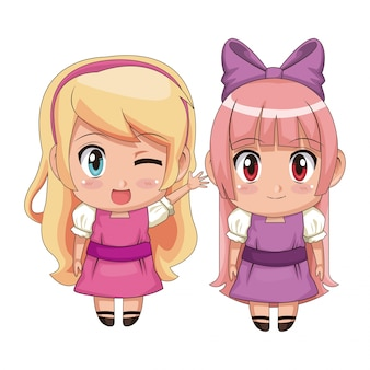 Colorful full body couple cute anime girl facial wink expression and smile