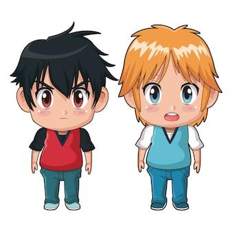 カラフルなフルボディのカップルかわいいアニメティーンエイジャーの表情bewilderedと怒り