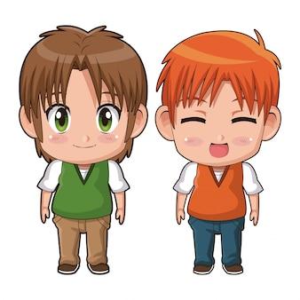 カラフルなフルボディカップルかわいいアニメティーンエイジャーの表情幸せ