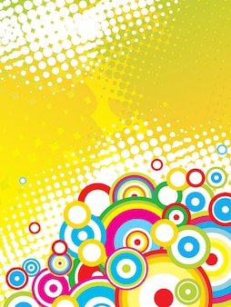 Colorful funky circles background