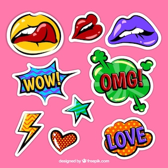 Colorful funky sticker pack
