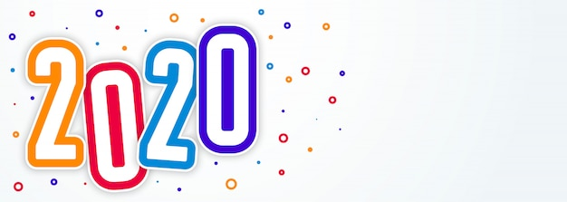 Colorful funky style 2020 happy new year banner