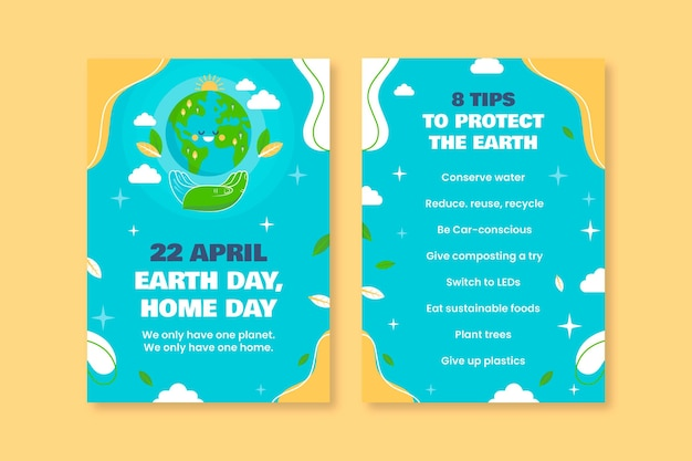 Colorful funny earth day nature flyer template