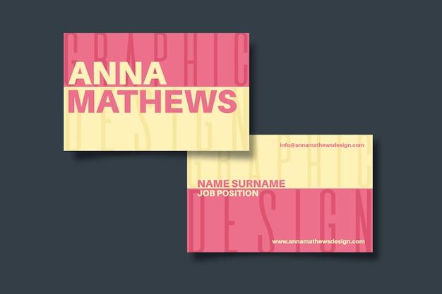 Красочная забавная визитная карточка графического дизайнера