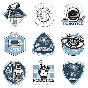 Colorful futuristic innovations badge collection