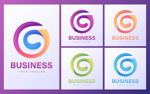モダンなコンセプトのカラフルなg文字のロゴ