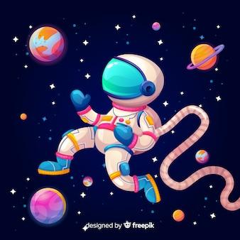 宇宙飛行士とカラフルな銀河の背景