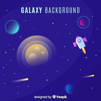 Красочный фон галактики с плоским дизайном