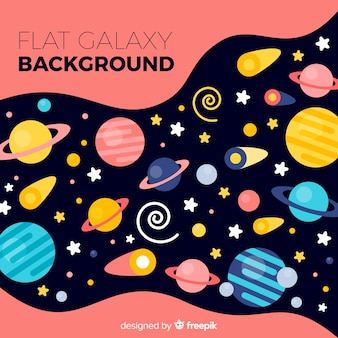 Colorful galaxy background with flat design