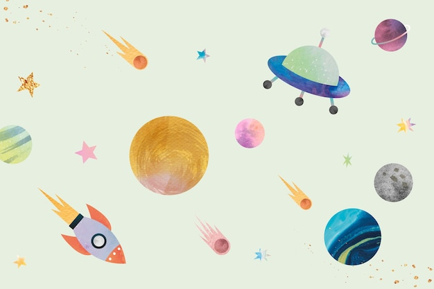 Colorful galaxy pattern background in cute watercolor style