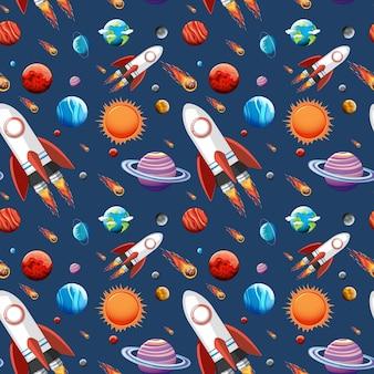 カラフルな銀河空間と惑星がシームレスに設定