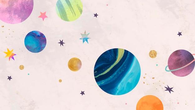 Doodle acquerello colorato galassia su sfondo pastello galaxy