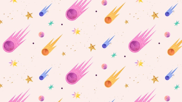 Colorful galaxy watercolor doodle with comets on pastel background