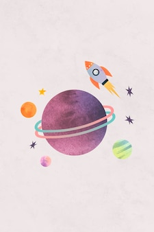 Colorful galaxy watercolor doodle with a rocket on pastel background