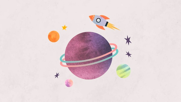 Colorful galaxy watercolor doodle with a rocket