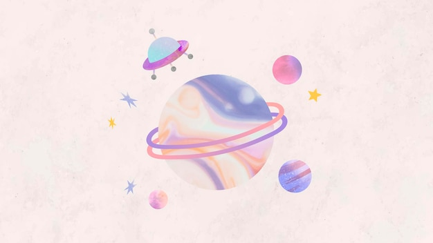 Colorful galaxy watercolor doodle with an ufo
