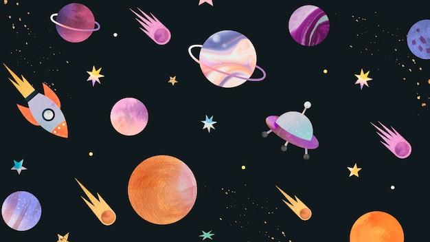 カラフルな銀河水彩落書き