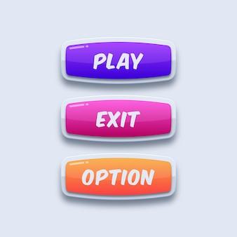 Красочные игровые кнопки пользовательского интерфейса