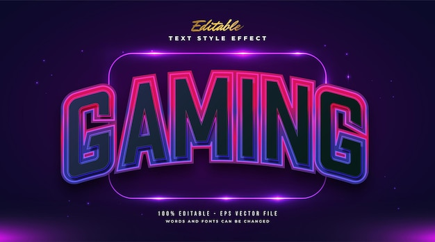 Colorful gaming text style with curved effect