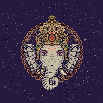 Colorful ganesha mandala style illustration