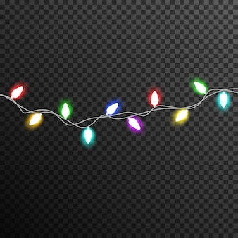 Colorful garland light bulb decoration transparent