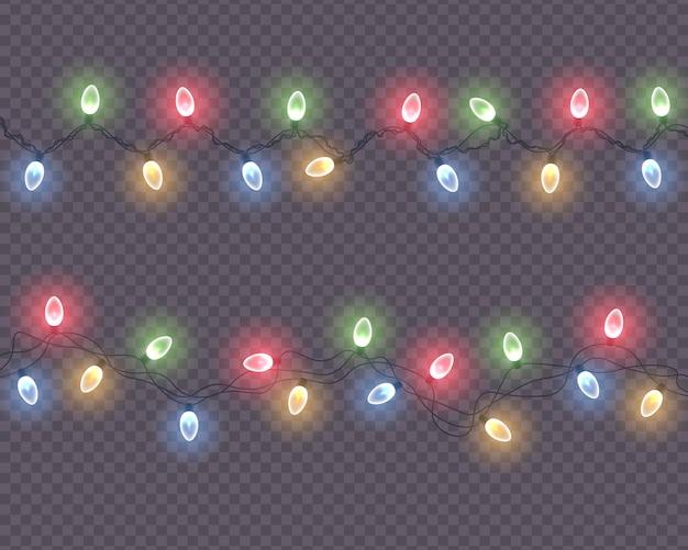 빛나는 전구 led 네온 크리스마스 조명 휴일 장식 벡터와 다채로운 화환 문자열