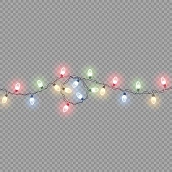 輝く電球とカラフルな花輪の文字列は、ネオンのクリスマスライトの休日の装飾のベクトルを導きました