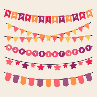 Colorful garlands for birthday
