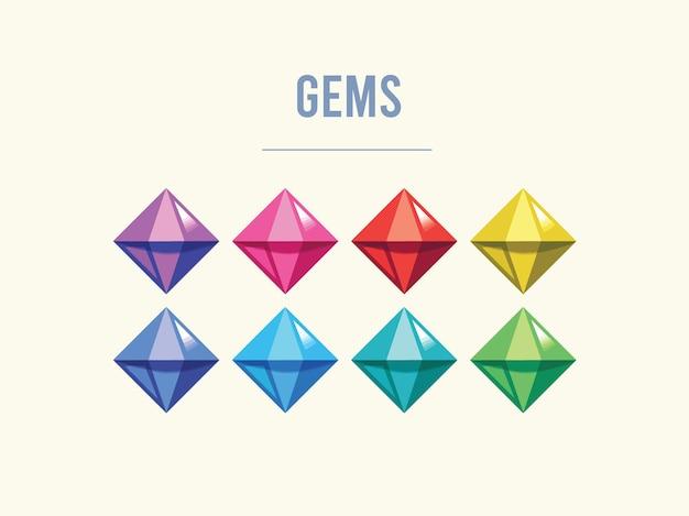 ゲーム用のカラフルな宝石資産