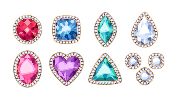 Colorful gemstones in diamond rim illustration.